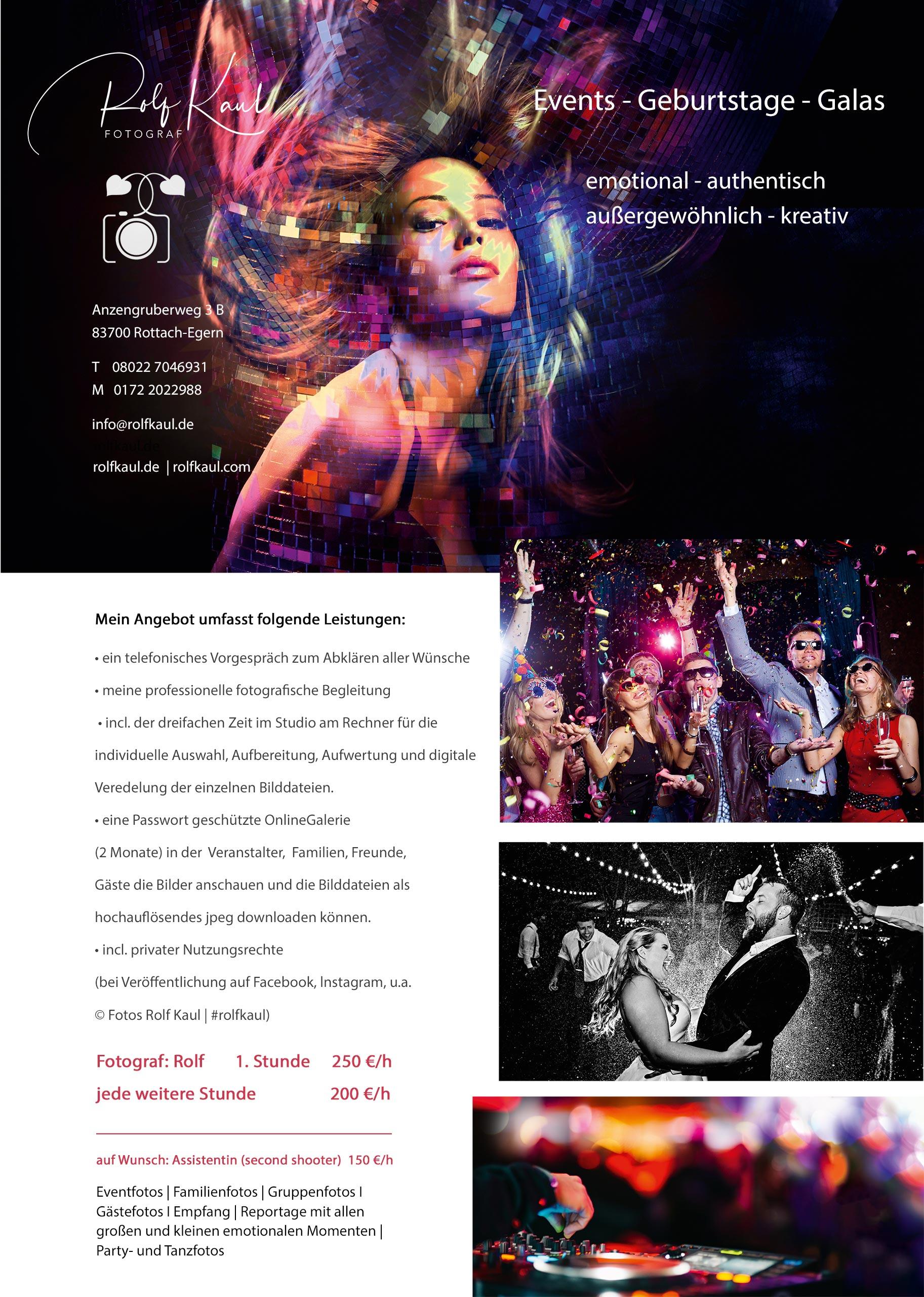 Infos zu Preisen und Leistungen für Events-Geburtstage-Feiern